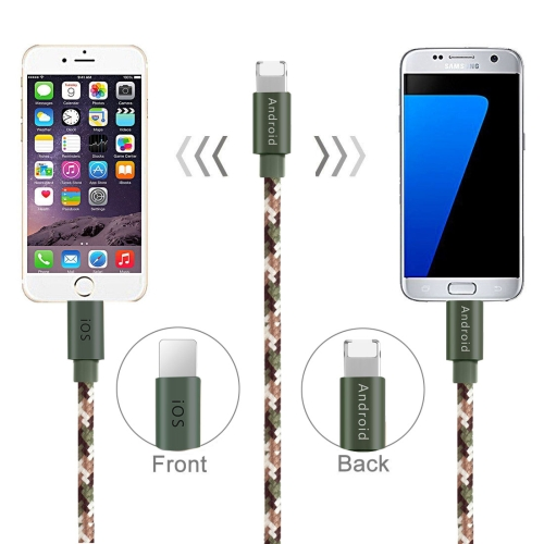 Buy POFAN P02 1m 2.1A 8 Pin + Micro USB to USB Woven Style Nylon Data Sync Charging Cable with Metal Head for $2.49 in SUNSKY store