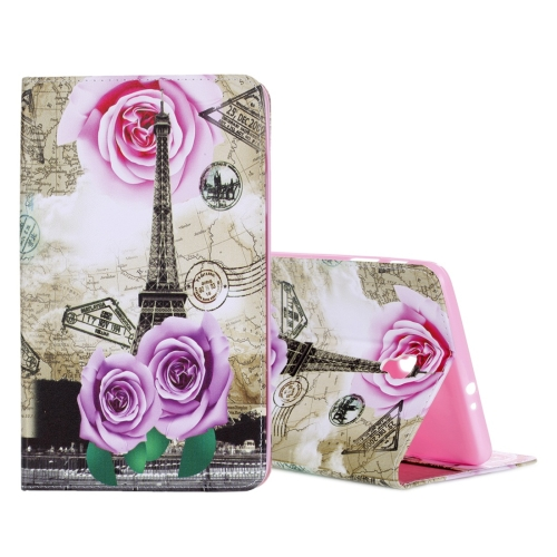 Buy For Samsung Galaxy Tab A 8.0, 2017 / T385 Rose Tower Pattern Horizontal Flip Leather Case with Holder & Card Slots & Wallet, Silver for $4.72 in SUNSKY store