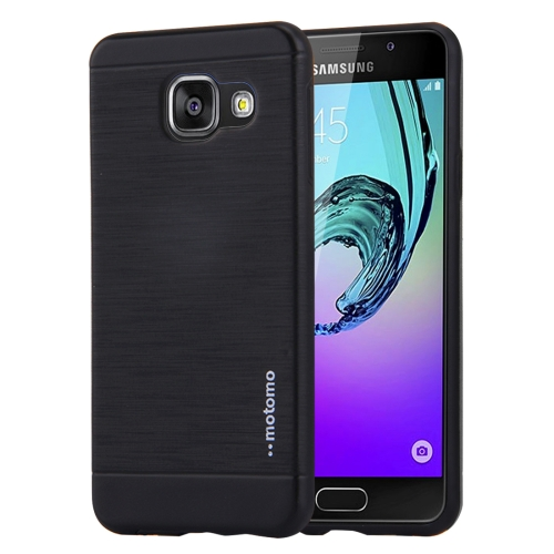 MOTOMO for Galaxy A3 (2016) / A310 Brushed Texture Metal + TPU Protective Case(Black)