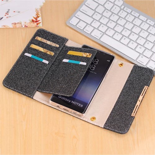 Buy For Samsung Galaxy Note 8 Glitter Powder Frosted Shoulder Bag Horizontal Flip Leather Case Cover with Card Slots, Black for $7.09 in SUNSKY store