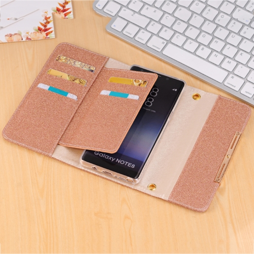 Buy For Samsung Galaxy Note 8 Glitter Powder Frosted Shoulder Bag Horizontal Flip Leather Case Cover with Card Slots, Brown for $7.09 in SUNSKY store