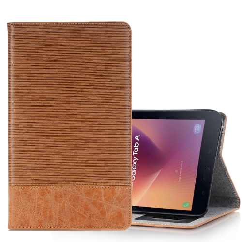 For Samsung Galaxy Tab A 8.0, 2017 / T385 Cross Texture Horizontal Flip Case Cover with Card Slots & Holder & Wallet, Brown