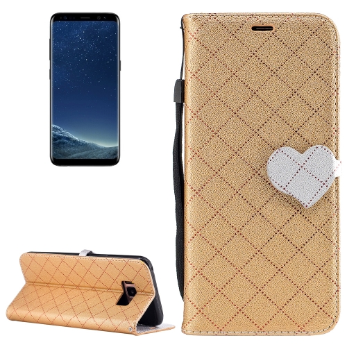 Buy For Samsung Galaxy S8 + / G955 TPU + PU Love Contrast Color Lattice Horizontal Flip Leather Case with Holder & Card Slots & Wallet & Lanyard, Gold for $2.41 in SUNSKY store
