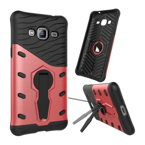 Buy For Samsung Galaxy J3, 2016 / J310 Shock-Resistant 360 Degree Spin Tough Armor TPU+PC Combination Case with Holder, Red for $2.32 in SUNSKY store
