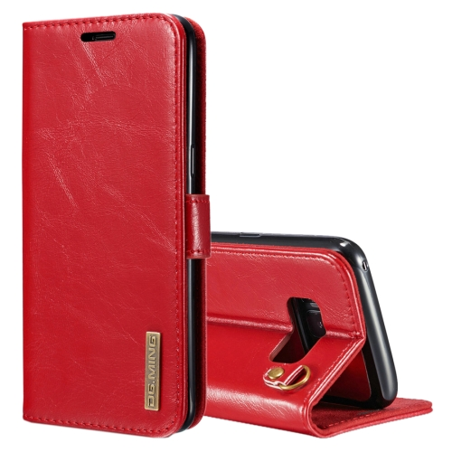 Buy DG.MING for Samsung Galaxy S8 Genuine Leather Horizontal Flip Detachable Magnetic Protective Case with Holder & Card Slots & Lanyard, Red for $7.31 in SUNSKY store