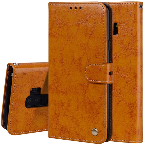 For Galaxy S9 Plus Oil Wax Texture Horizontal Flip Leather Case with Holder & Card Slots & Wallet(Brown)