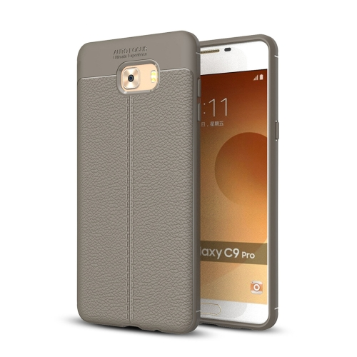 Buy For Samsung Galaxy C9 Pro Litchi Texture Design Soft TPU Anti-skip Protective Cover Back Case, Grey for $2.28 in SUNSKY store
