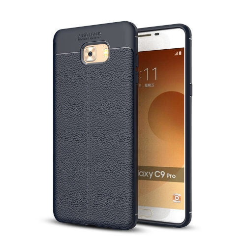 For Samsung Galaxy C9 Pro Litchi Texture Design Soft TPU Anti-skip Protective Cover Back Case, navy