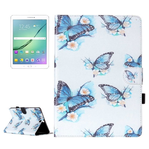 For Samsung Galaxy Tab S2 9.7 / T815 Flowers Butterflies Pattern Horizontal Flip Leather Case with Holder & Card Slots & Wallet