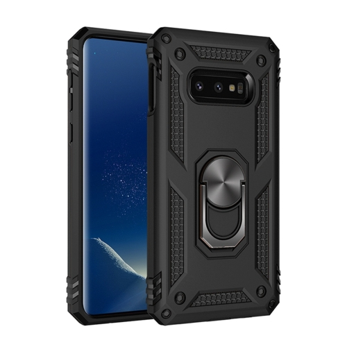 Sergeant Armor Shockproof TPU + PC Protective Case for Galaxy S10e, with 360 Degree Rotation Holder(Black)