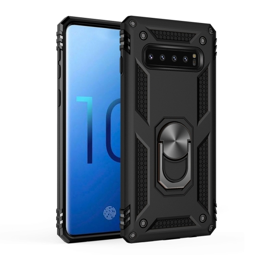 Sergeant Armor Shockproof TPU + PC Protective Case for Galaxy S10, with 360 Degree Rotation Holder (Black)