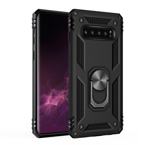 Sergeant Armor Shockproof TPU + PC Protective Case for Galaxy S10 Plus, with 360 Degree Rotation Holder(Black)