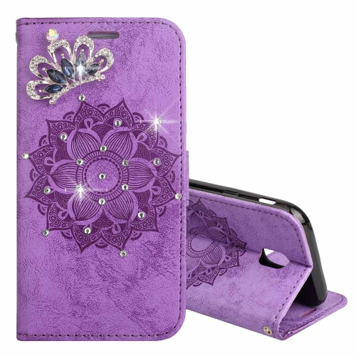 For Galaxy J3 (2017) (EU Version) Mandragora Pattern Diamond Encrusted  Horizontal Flip Leather Case with Card Slot   Holder   Wallet    Lanyard(Purple) ... 740c346252c