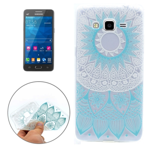 Buy For Samsung Galaxy Grand Prime / G530 Blue Pattern Transparent Soft TPU Protective Back Cover Case for $1.16 in SUNSKY store
