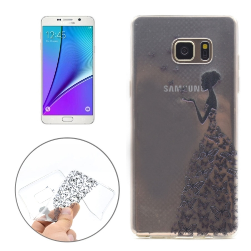 Buy For Samsung Galaxy Note 5 / N920 Butterfly and Girl Pattern Transparent Soft TPU Protective Back Cover Case for $1.16 in SUNSKY store