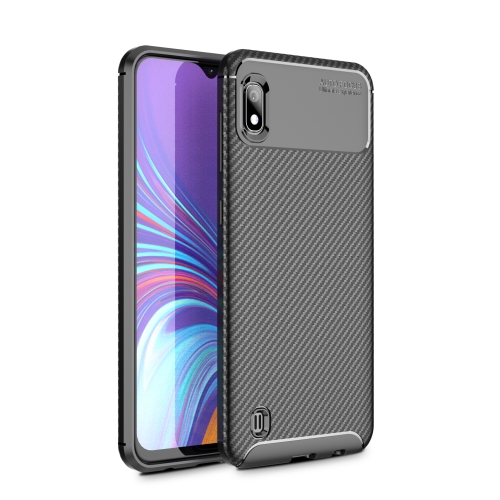 Beetle Series Carbon Fiber Texture Shockproof TPU Case for Galaxy A10(Black)