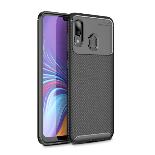 Beetle Series Carbon Fiber Texture Shockproof TPU Case for Galaxy A30(Black)