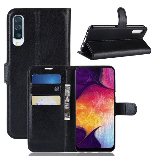 Litchi Texture Horizontal Flip Leather Case for Galaxy A50, with Wallet & Holder & Card Slots (Black)