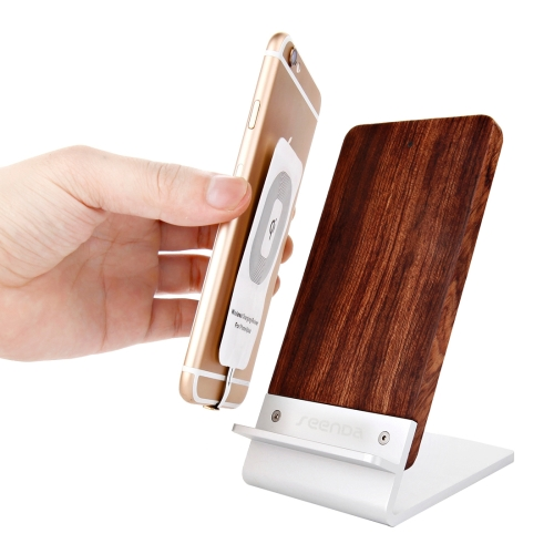 Seenda 2 in 1 Artistic Rosewood Wood Grain Phone Stand Holder + Three-core Wireless Charger, Size: 135x70x92 mm