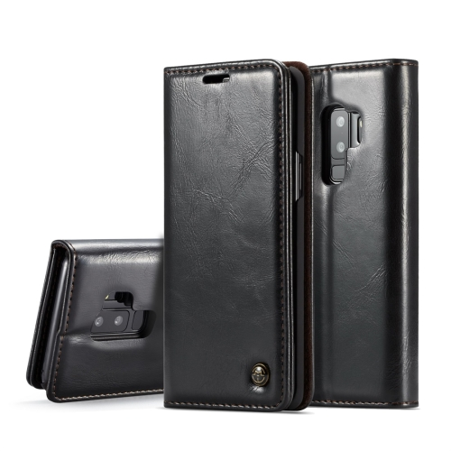 CaseMe-003 for Galaxy S9+ PU + PC Business Style Crazy Horse Texture Horizontal Flip Leather Case with Holder & Card Slots & Wallet(Black) gubintu men short wallet high quality fashion business purse with card holder 3 fold pu male dollar folder d3109 1