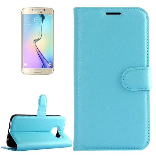 Buy For Samsung Galaxy S6 Edge / G925 Litchi Texture Horizontal Flip Leather Case with Holder & Card Slots & Wallet, Blue for $2.22 in SUNSKY store