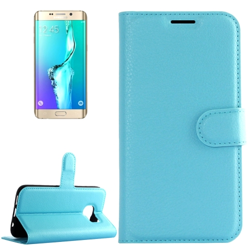 Buy For Samsung Galaxy S6 Edge+ / G928 Litchi Texture Horizontal Flip Leather Case with Holder & Card Slots & Wallet, Blue for $2.22 in SUNSKY store