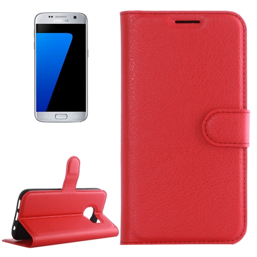 For Galaxy S7 / G930 Litchi Texture Horizontal Flip Leather Case with Holder & Card Slots & Wallet(Red) фото