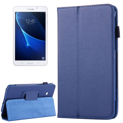 Buy For Samsung Galaxy Tab A 7.0 / T280 Litchi Texture Magnetic Horizontal Flip Leather Case with Holder (Dark Blue) for $2.47 in SUNSKY store