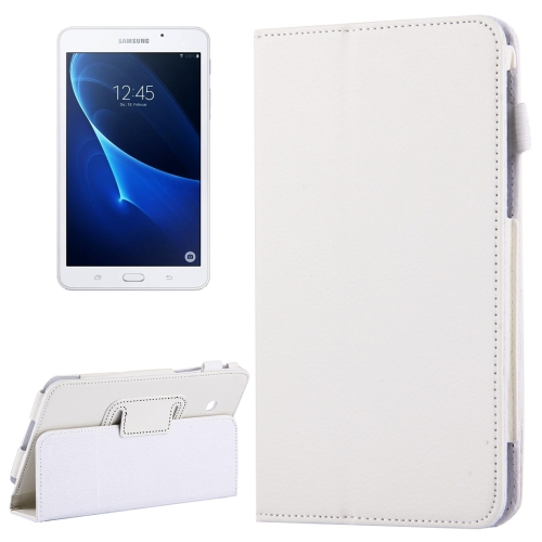 For Samsung Galaxy Tab A 7.0 / T280 Litchi Texture Magnetic Horizontal Flip Leather Case with Holder, White