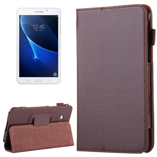 Buy For Samsung Galaxy Tab A 7.0 / T280 Litchi Texture Magnetic Horizontal Flip Leather Case with Holder, Brown for $2.47 in SUNSKY store