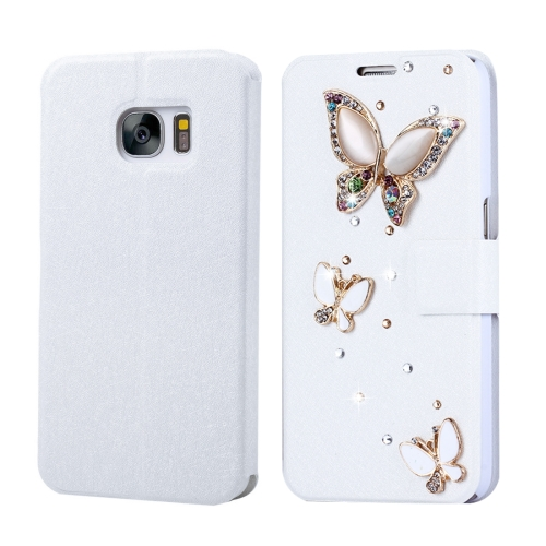 Buy Fevelove for Samsung Galaxy S7 / G930 Diamond Encrusted Three Butterflies Pattern Horizontal Flip Leather Case with Magnetic Buckle & Card Slots for $3.35 in SUNSKY store