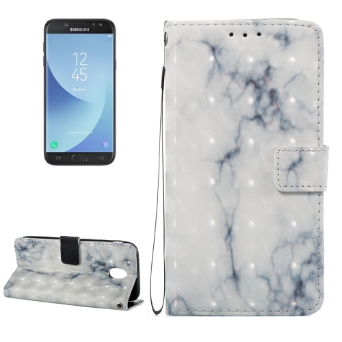 Buy For Samsung Galaxy J5, 2017 / J530 (EU Version) 3D White and Grey Marble Pattern Horizontal Flip Leather Case with Holder & Card Slots & Wallet & Lanyard for $2.66 in SUNSKY store