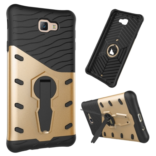 Buy For Samsung Galaxy J7 Prime & On7, 2016 / G610 Shock-Resistant 360 Degree Spin Tough Armor TPU + PC Combination Case with Holder, Gold for $2.34 in SUNSKY store