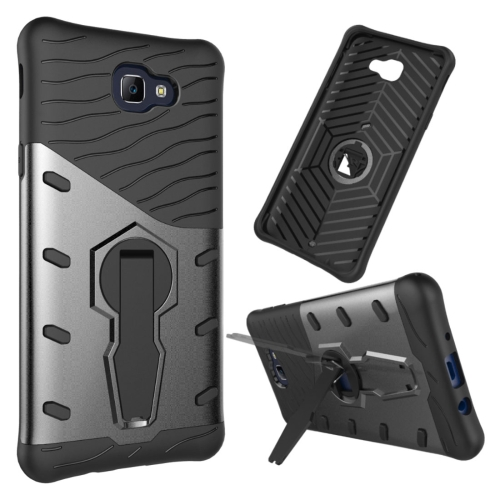 For Samsung Galaxy J5 Prime & On5, 2016 / G570 Shock-Resistant 360 Degree Spin Tough Armor TPU + PC Combination Case with Holder, Black