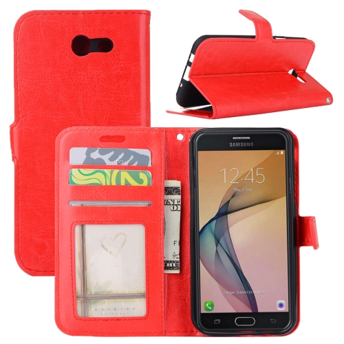 Buy For Samsung Galaxy J3, 2017 (US Version) Crazy Horse Texture Horizontal Flip Leather Case with Holder & Card Slots & Wallet & Photo Frame, Red for $2.43 in SUNSKY store