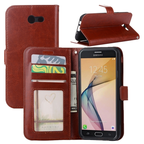 For Samsung Galaxy J5, 2017 (US Version) Crazy Horse Texture Horizontal Flip Leather Case with Holder & Card Slots & Wallet & Photo Frame, Brown