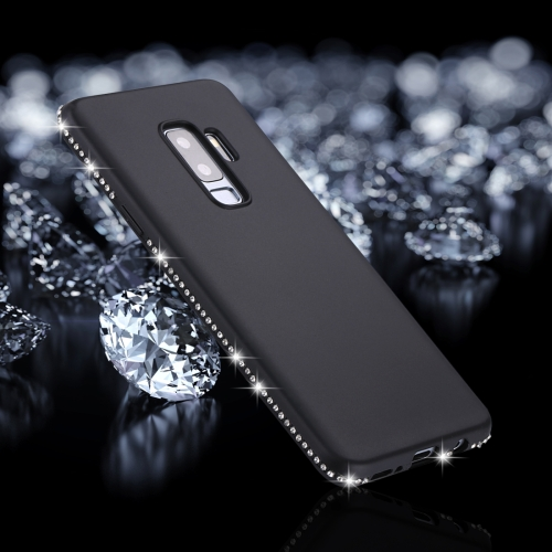 For Galaxy S9+ Crystal Decor Sides Frosted Soft TPU Protective Back Case (Black) protective matte frosted abs back case for samsung galaxy s2 i9100 blue
