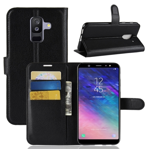 For Galaxy A6+ 2018 Litchi Texture Horizontal Flip Leather Case with Holder & Card Slots & Wallet(Black) creative zipper binder holder a6 holes loose leaf notebooks stationery cute portable agenda organizer planner notebook for gift