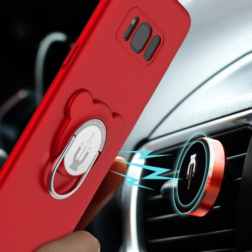 Buy AIQAA For Samsung Galaxy S8 PC Dual-purpose Magnetic Protective Case with Ring Holder & Car Air Outlet Vent Holder, Red for $4.94 in SUNSKY store