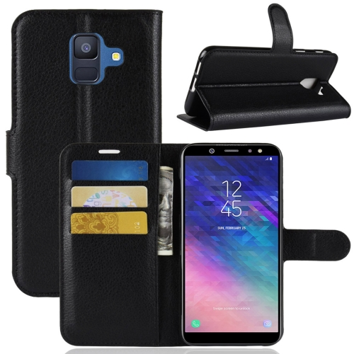 Litchi Texture Horizontal Flip Leather Case for Galaxy A6 (2018), with Wallet & Holder & Card Slots (Black)