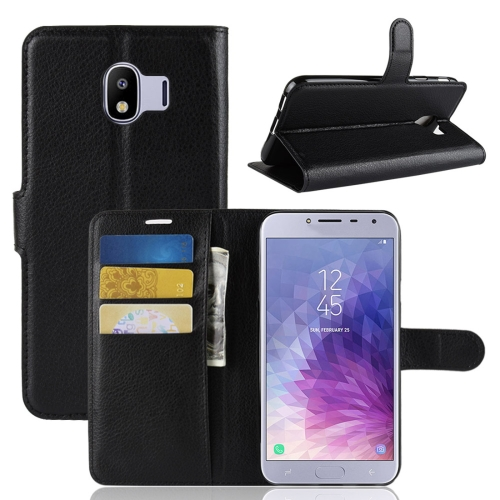 Litchi Texture Horizontal Flip Leather Case for Galaxy J4 (2018) (EU Version), with Wallet & Holder & Card Slots (Black)