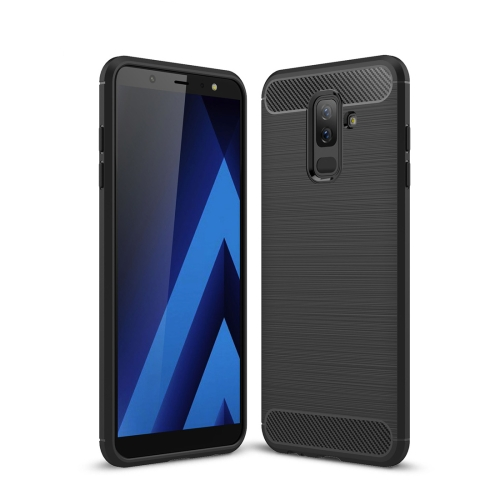 Brushed Texture Carbon Fiber Shockproof TPU Case for Galaxy A6+ (2018) (Black) rst bc2008 cycling bicycle carbon fiber water bottle holder black