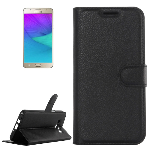 For Galaxy J5 (2016) / J510 Litchi Texture Horizontal Flip Leather Case with Holder & Card Slots & Wallet(Black) фото