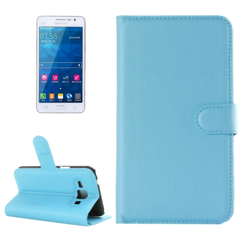 Buy For Samsung Galaxy Grand Prime / G530 Litchi Texture Horizontal Flip Leather Case with Holder & Card Slots & Wallet, Blue for $2.28 in SUNSKY store