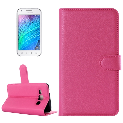 Buy For Samsung Galaxy J1 Litchi Texture Horizontal Flip Leather Case with Holder & Card Slots & Wallet, Magenta for $2.17 in SUNSKY store