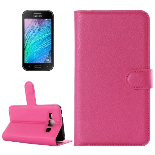 Buy For Samsung Galaxy J2 Litchi Texture Horizontal Flip Leather Case with Holder & Card Slots & Wallet, Magenta for $2.17 in SUNSKY store