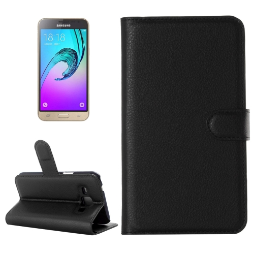Buy For Samsung Galaxy J3 Litchi Texture Horizontal Flip Leather Case with Holder & Card Slots & Wallet, Black for $2.28 in SUNSKY store
