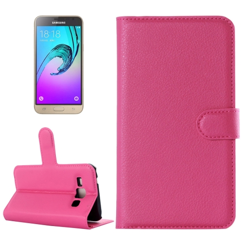 Buy For Samsung Galaxy J3 Litchi Texture Horizontal Flip Leather Case with Holder & Card Slots & Wallet, Magenta for $2.17 in SUNSKY store