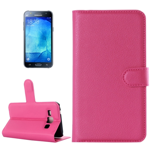 Buy For Samsung Galaxy J5 Litchi Texture Horizontal Flip Leather Case with Holder & Card Slots & Wallet, Magenta for $2.17 in SUNSKY store