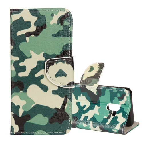 Camouflage Pattern Cross Texture Horizontal Flip Leather Case for Galaxy J6 (2018) (EU Version), with Holder & Card Slots & Wallet